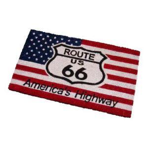 Route.66(ルート66)室外玄関用ココナッツフロアマット、四角タイプ、星条旗|shouei-st
