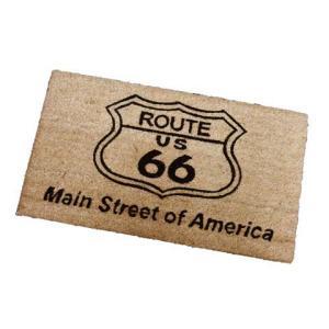 Route.66(ルート66)室外玄関用ココナッツフロアマット、四角タイプ、ブラウン|shouei-st