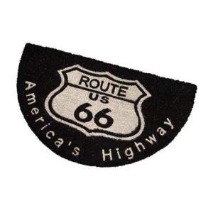 Route.66(ルート66)室外玄関用ココナッツフロアマット、半円タイプ、ブラック|shouei-st