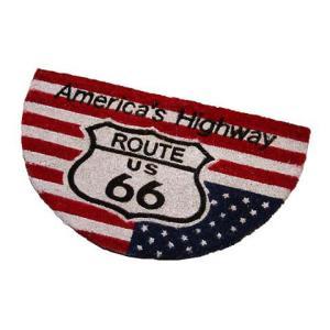 Route.66(ルート66)室外玄関用ココナッツフロアマット、半円タイプ、星条旗|shouei-st