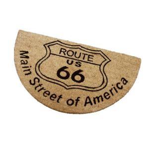 Route.66(ルート66)室外玄関用ココナッツフロアマット、半円タイプ、ブラウン|shouei-st