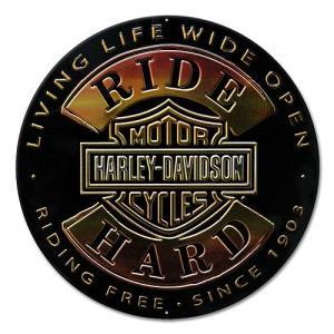 HARLEY DAVIDSON(ハーレーダビッドソン)ティンサイン【7】「H-D RIDE HARD ROUND TIN」|shouei-st