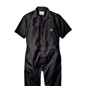 Dickies(ディッキーズ)ショートスリーブカバーオール<夏用半袖ツナギ>ブラック|shouei-st