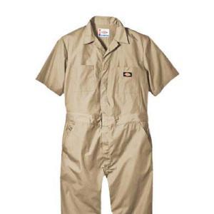 Dickies(ディッキーズ)ショートスリーブカバーオール<夏用半袖ツナギ>カーキ|shouei-st