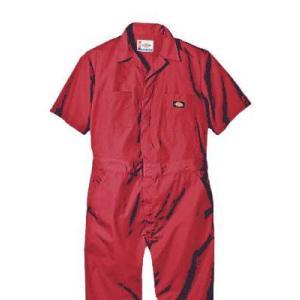 Dickies(ディッキーズ)ショートスリーブカバーオール<夏用半袖ツナギ>レッド|shouei-st
