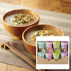 タニタ監修のフリーズドライのみそ汁のセットです。なす・オクラとめかぶ・野菜・あおさの4種類のおみそ汁...