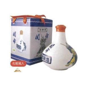 関帝 白磁陳年10年紹興酒(化粧箱付き)17度、500mlX6本(セット売り)、景徳鎮の壷に入った最高級の10年紹興酒♪|shoukoushu