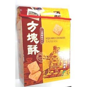 横浜中華街 長圓 方塊酥(台湾クッキー)、304g/44個入り/お土産箱・(黒糖胡麻・ハスの実・コーヒー・山芋・4種味入り)・お土産箱に入っています♪|shoukoushu