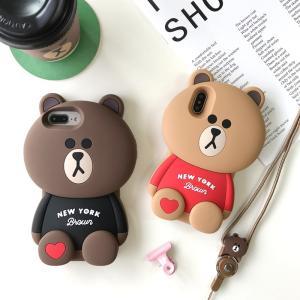 iPhone XS Max XR case アイフォン ケース キャラクター ブラウンクマ シリコン...