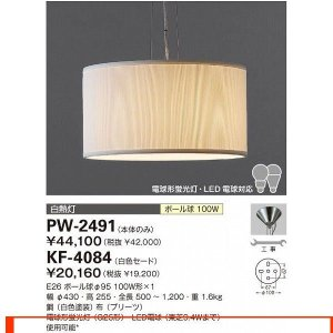 山田照明 照明器具 激安 PW-2491+KF-4084 ペ...