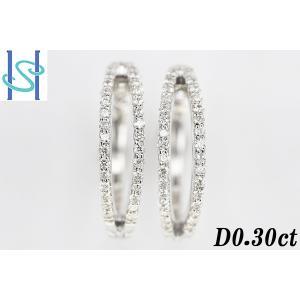 【SH190703-1-011】新品 K18WG ダイヤモンド フープピアス 0.30ct sht-ys