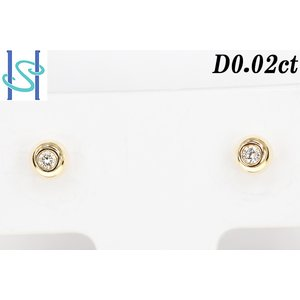 【SH190703-1-029】新品 K18 ダイヤモンド ピアス 0.02ct sht-ys