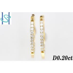 【SH26222】K18 ダイヤモンド フープピアス 0.20ct【中古】 sht-ys