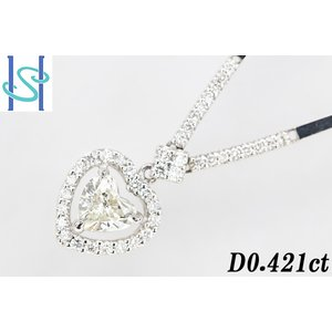 【SH33146】プラチナ900/K14ホワイトゴールド ダイヤモンド ネックレス 0.421ct 0.12ct 0.22ct ハートシェイプ【中古】 sht-ys