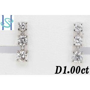 【SH35412】プラチナ900 ダイヤモンド ピアス 1.00ct【中古】 sht-ys
