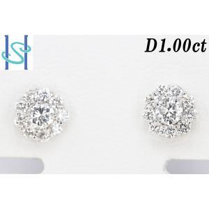 【SH38788】K18WG ダイヤモンド ピアス 1.00ct【中古】 sht-ys