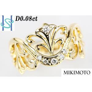 【SH41582】ミキモト K18 ダイヤモンド リング 0.08ct 【中古】 sht-ys