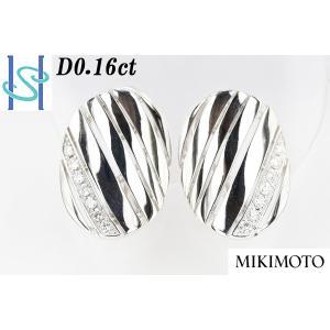 【SH42406】ミキモト K18WG ダイヤモンド イヤリング 0.16ct【中古】 sht-ys