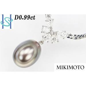【SH42714】ミキモト K18ホワイトゴールド 黒蝶パール ネックレス 11.4mm D0.99ct【中古】 sht-ys