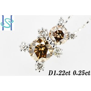 【SH44355】K18ホワイトゴールド ブラウンダイヤモンド ネックレス 1.22ct 0.25ct クマ 熊 動物【中古】 sht-ys