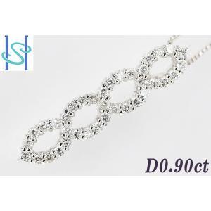 【SH44632】K18ホワイトゴールド ダイヤモンド ネックレス 0.90ct【中古】 sht-ys