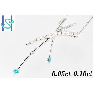 【SH44637】K18ホワイトゴールド パライバトルマリン ネックレス 0.05ct D0.10ct【中古】 sht-ys