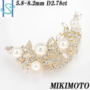 【SH50657】ミキモト アコヤパール ブローチ 5.8-8.2mm D2.78ct K18イエローゴールド【中古】|sht-ys