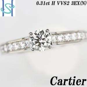 【SH52466】カルティエ ダイヤモンド リング 0.31ct H VVS2 3EX (N) プラチナ950 MKコーフィル パヴェ【中古】|sht-ys