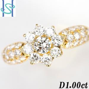 【SH52679】ダイヤモンド リング 1.00ct K18イエローゴールド 花 フラワー【中古】|sht-ys