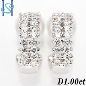 【SH52737】ダイヤモンド ピアス イヤリング 1.00ct K18ホワイトゴールド 2WAY【中古】|sht-ys
