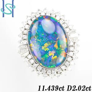 【SH52755】ブラックオパール リング 11.439ct D2.02ct プラチナ900【中古】|sht-ys