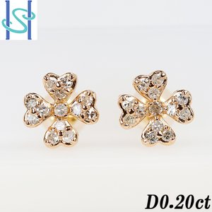 【SH53412】ブラウンダイヤモンド ピアス 0.20ct K18ピンクゴールド 花 フラワー クローバー ハート シングルカット【中古】|sht-ys