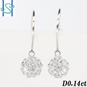 【SH53645】ダイヤモンド ピアス 0.14ct プラチナ950 花 フラワー【中古】|sht-ys