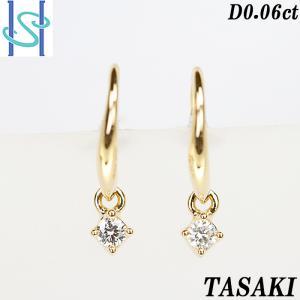 【SH53647】田崎真珠 ダイヤモンド ピアス 0.06ct K18イエローゴールド 一粒石 TASAKI【中古】|sht-ys