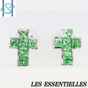 【SH53796】レエッセンシャル グロッシュラーライトガーネット ピアス K18ホワイトゴールド クロス 十字架【中古】|sht-ys