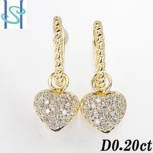 【SH53833】ダイヤモンド ピアス 0.20ct K18イエローゴールド ハート 2WAY【中古】|sht-ys