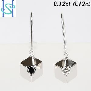 【SH53835】ダイヤモンド ピアス 0.24ct K18ホワイトゴールド ブラックダイヤモンド キューブ【中古】|sht-ys