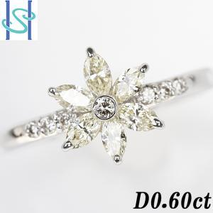 【SH53894】イエローダイヤモンド リング 0.60ct K18ホワイトゴールド 花 フラワー【中古】|sht-ys