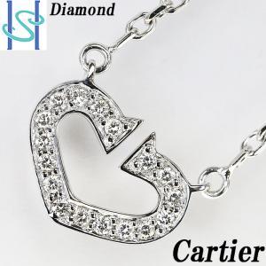 【SH53978】カルティエ ダイヤモンド ネックレス K18ホワイトゴールド Cハート【中古】|sht-ys