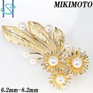 【SH53990】ミキモト アコヤパール ブローチ 6.2-8.2mm K18イエローゴールド 花 フラワー リーフ MIKIMOTO【中古】|sht-ys