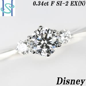 【SH54533】シチズン ディズニー ダイヤモンド リング 0.345ct F SI2 EX (N) 0.10ct プラチナ900【中古】 sht-ys
