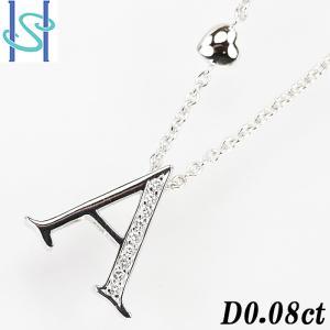 【SH54599】ダイヤモンド ネックレス 0.08ct K18ホワイトゴールド イニシャルA アルファベット【中古】|sht-ys