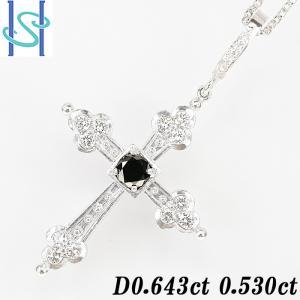 【SH54637】ブラックダイヤモンド ネックレス 0.643ct 0.530ct K18ホワイトゴールド クロス 十字架【中古】|sht-ys