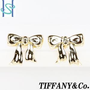 【SH54653】ティファニー ピアス K18イエローゴールド リボン 1990 Tiffany【中古】|sht-ys