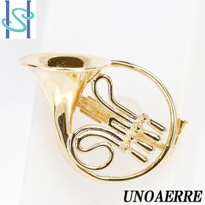 【SH54658】ウノアエレ UNOAERRE ピンブローチ K18イエローゴールド 楽器 ホルン【中古】|sht-ys