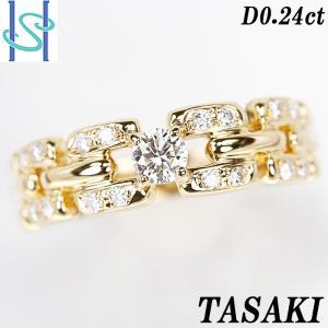 【SH55630】タサキ 田崎真珠 ダイヤモンド リング 0.24ct K18イエローゴールド TASAKI【中古】|sht-ys
