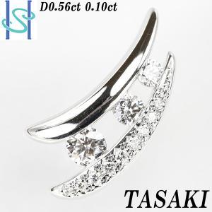 【SH55659】タサキ 田崎真珠 ダイヤモンド ペンダントトップ 0.56ct 0.10ct K18ホワイトゴールド【中古】 sht-ys