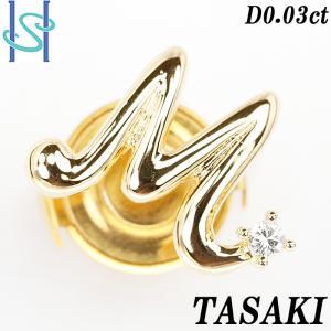 【SH56038】タサキ 田崎真珠 ダイヤモンド ピンブローチ 0.03ct K18イエローゴールド イニシャル【中古】 sht-ys
