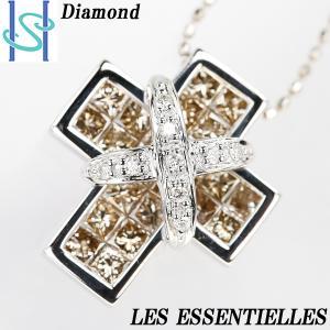 【SH56045】レエッセンシャル ブラウンダイヤモンド ネックレス K18ホワイトゴールド クロス【中古】 sht-ys