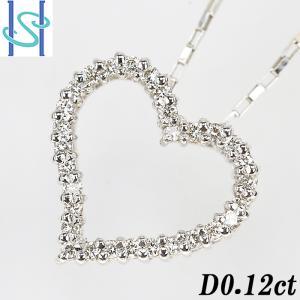 【SH601125】ダイヤモンド ネックレス 0.12ct K18ホワイトゴールド ハート【中古】|sht-ys